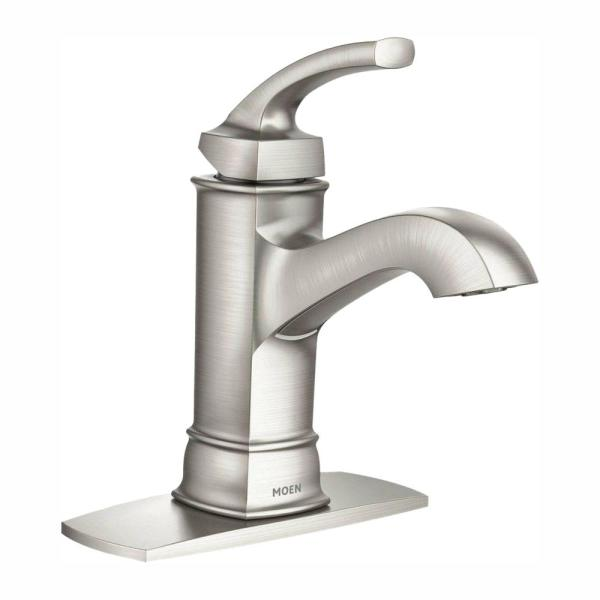 MOEN Hensley Single Hole Single Handle Bathroom Faucet in Spot