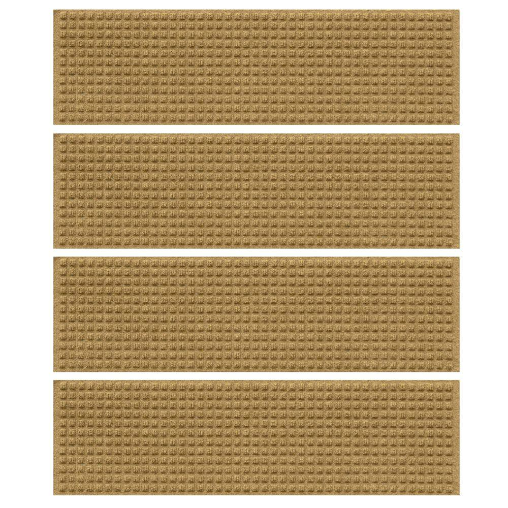 Gold 8.5 in. x 30 in. Squares Stair Tread Cover (Set
