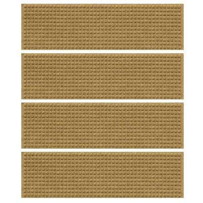 Gold 8.5 in. x 30 in. Squares Stair Tread Cover (Set of 4)
