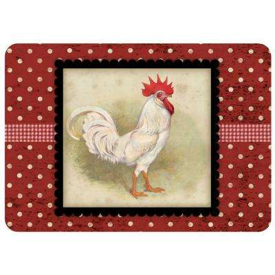 Polk-A-Dot White Rooster 22 in. x 31 in. Polyester Surface Mat