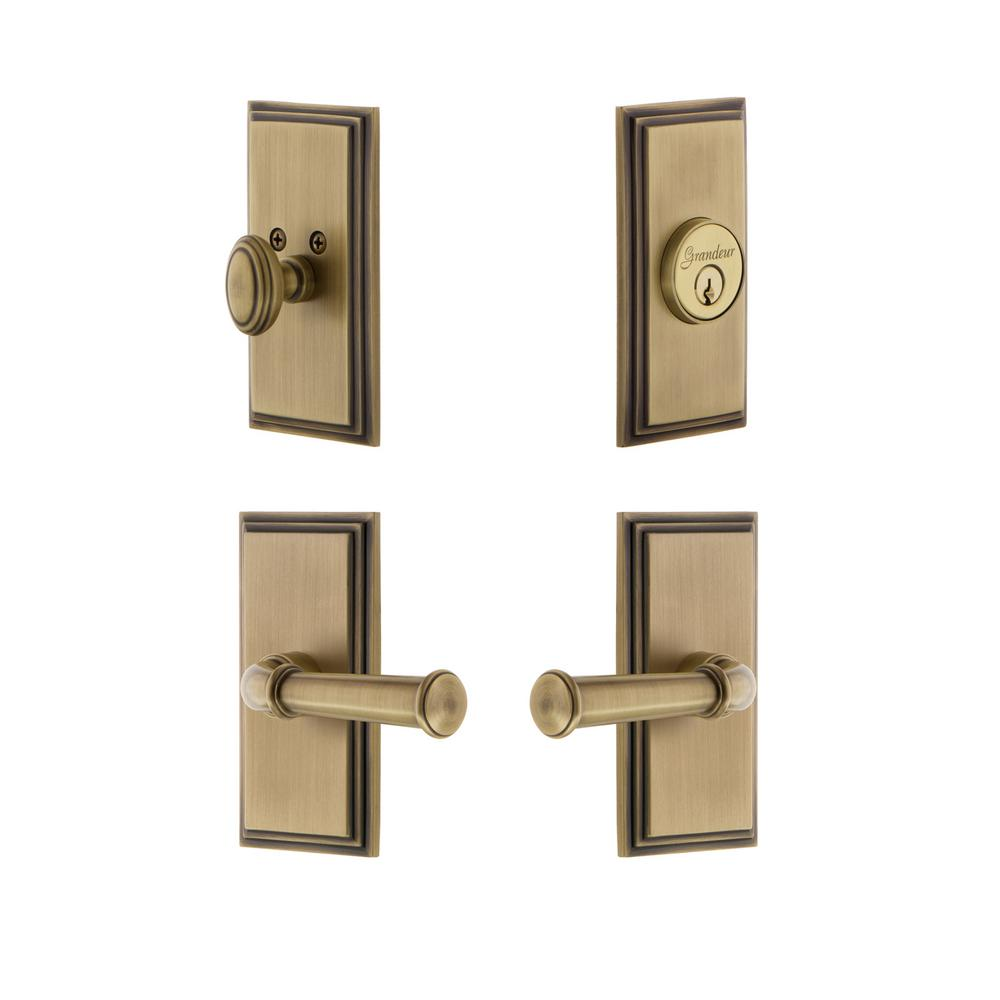 Grandeur Carre Plate 2-3/4 in. Backset Vintage Brass Georgetown Door ...