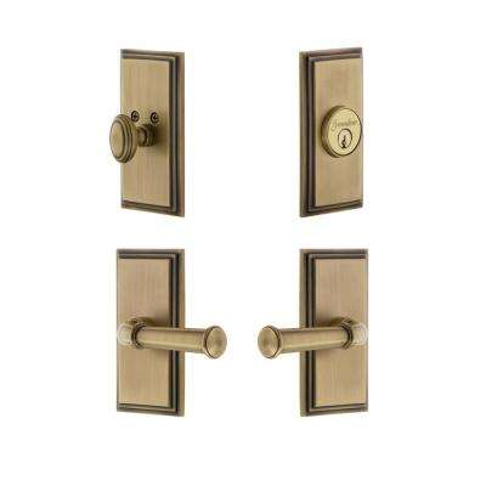 Carre Plate 2-3/4 in. Backset Vintage Brass Georgetown Door Lever with Single Cylinder Deadbolt