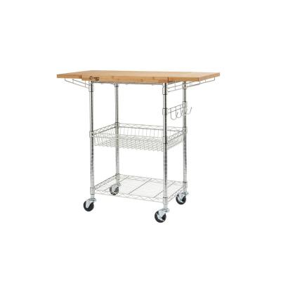 PRO EcoStorage Chrome Kitchen Cart with Bamboo Top