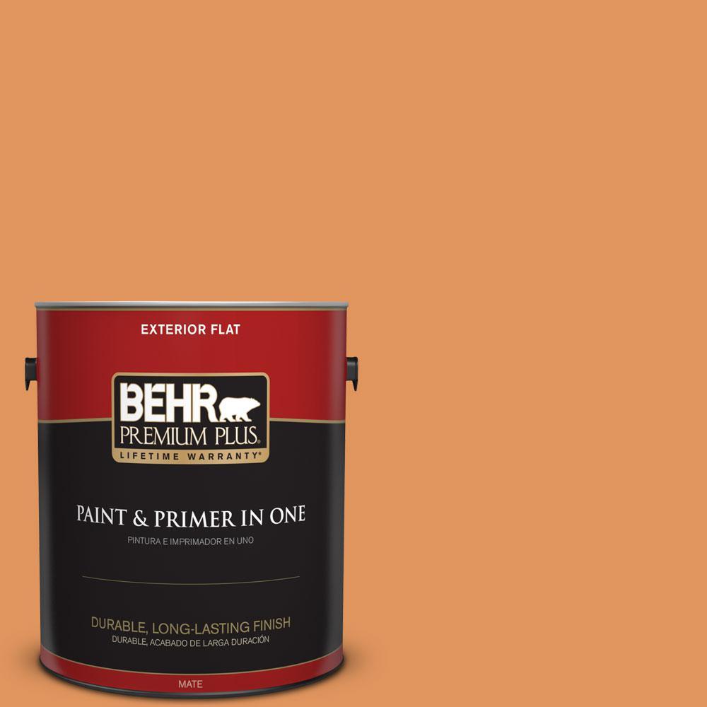 Behr Premium Plus 1 Gal M230 6 Amiable Orange Flat Exterior Paint And