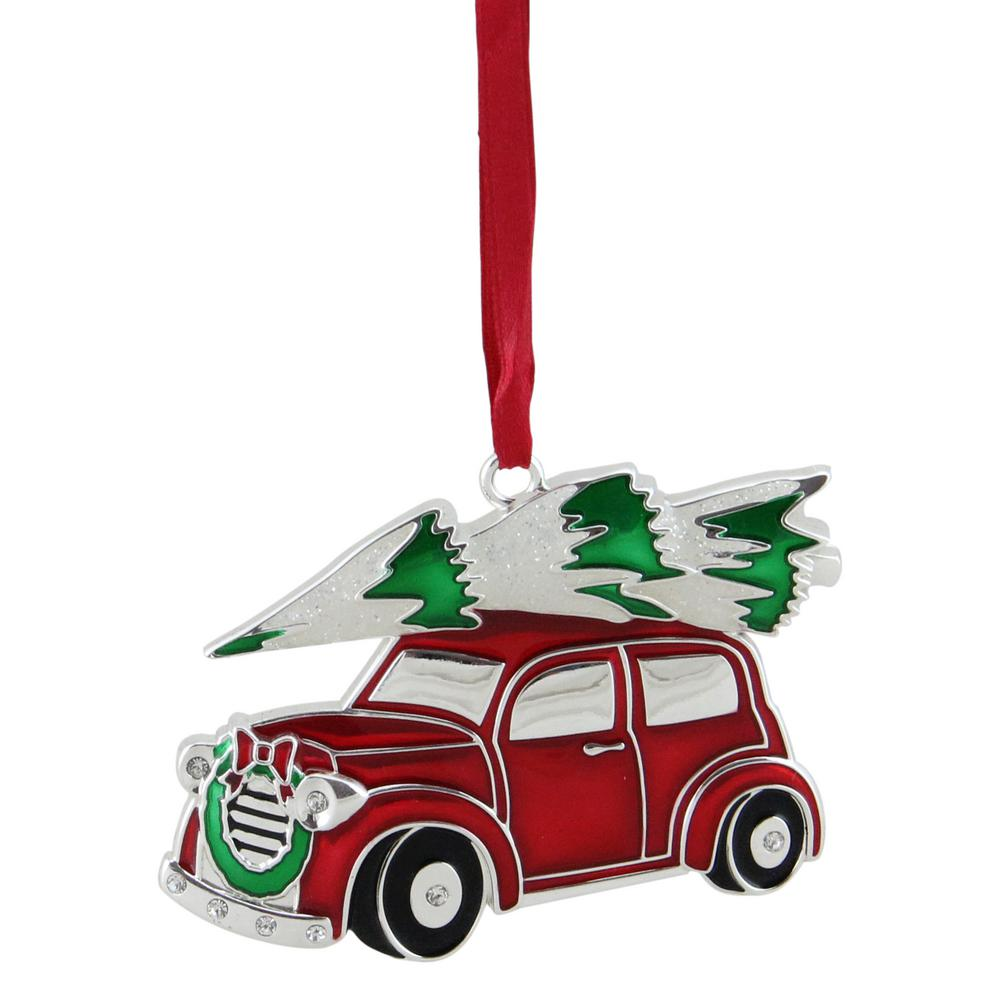 3.25 in. Red White and Green Silver Plated Car with Tree