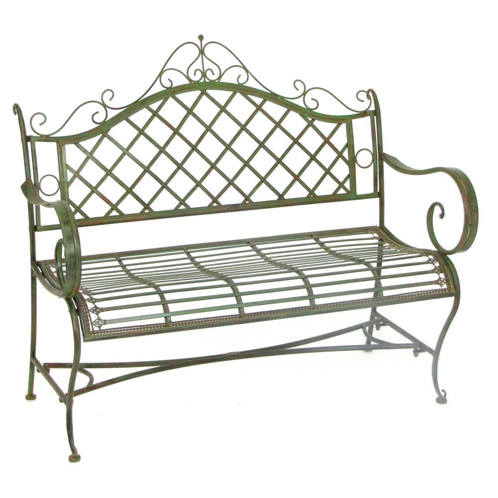 45 in. Stephania Antique Green Iron Outdoor Garden Bench