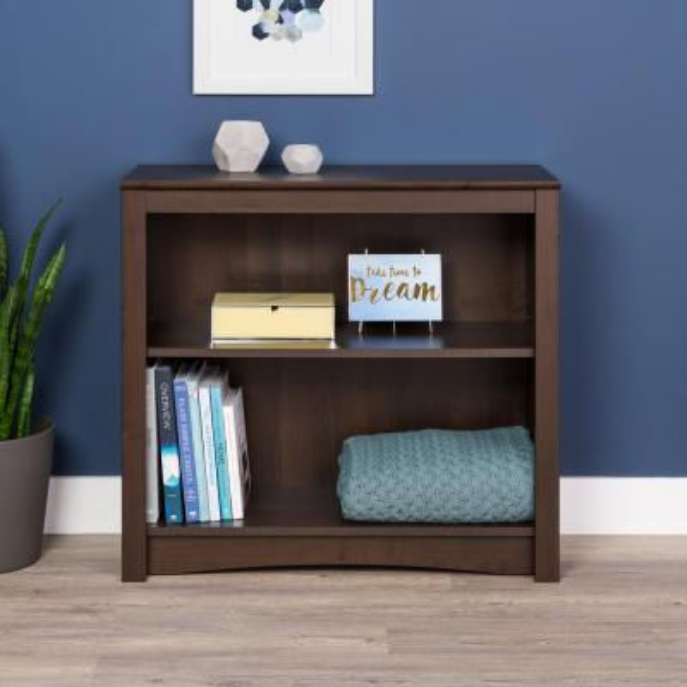 29 in. Espresso Wood 2-shelf Standard Bookcase with Adjustable Shelves