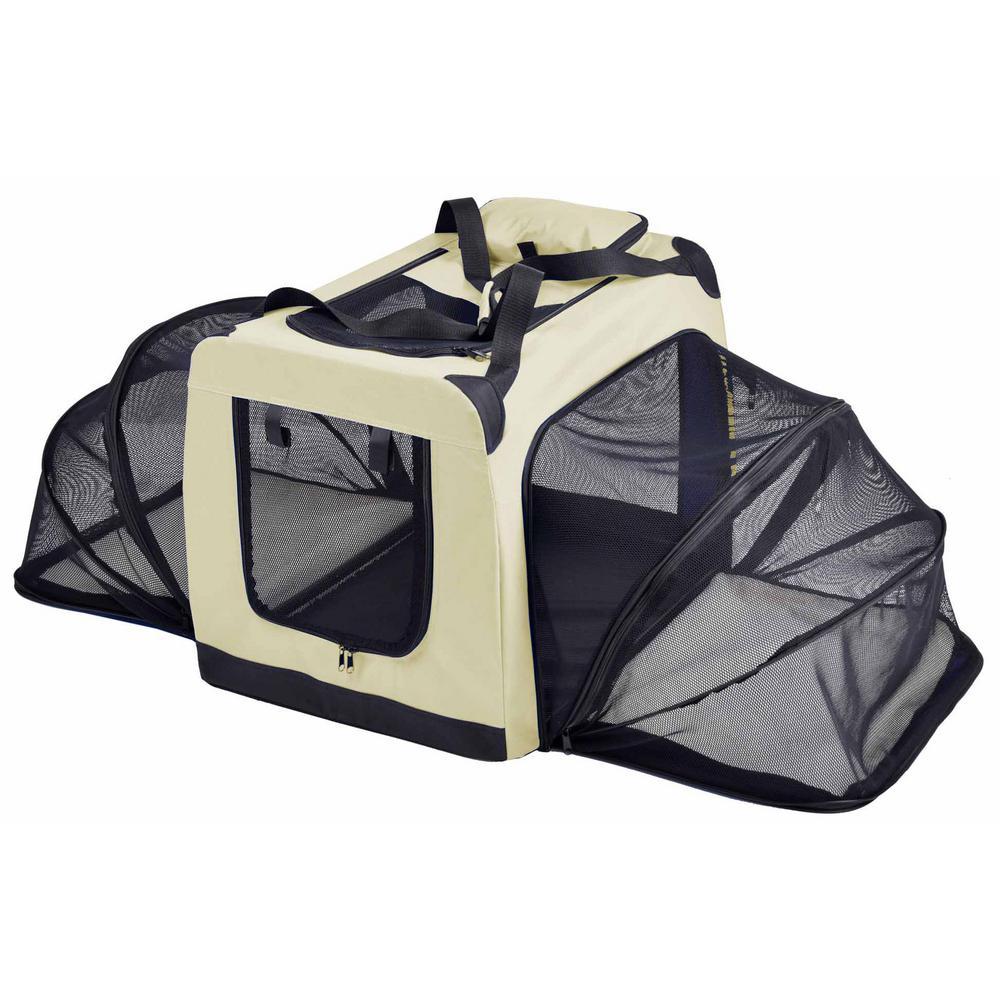 Hounda Accordion Metal Framed Collapsible Expandable Pet Dog Crate - Medium in Khaki