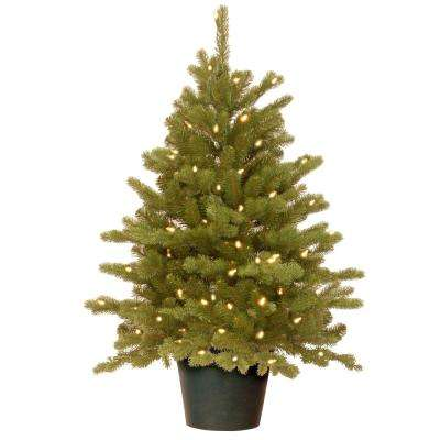 Feel-Real Hampton Spruce Small Wrapped 3 ft. Artificial Tree in Growers Pot with 100 Clear Lights