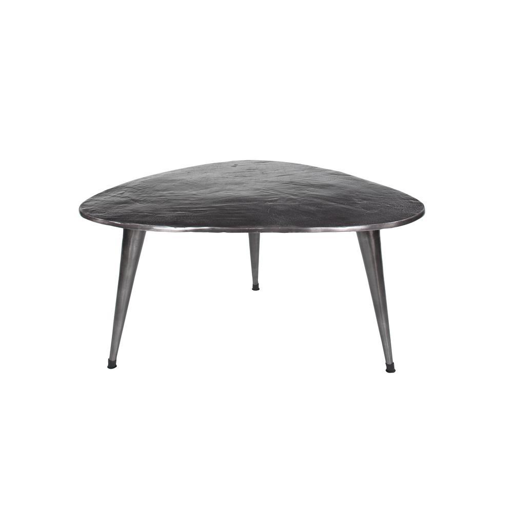 Mid-Century 38 in. Metallic Silver/Bronze Medium Specialty Metal Coffee Table with Beaded Legs