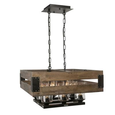8-Light Rustic Black Chandelier with Clear Glass Shade