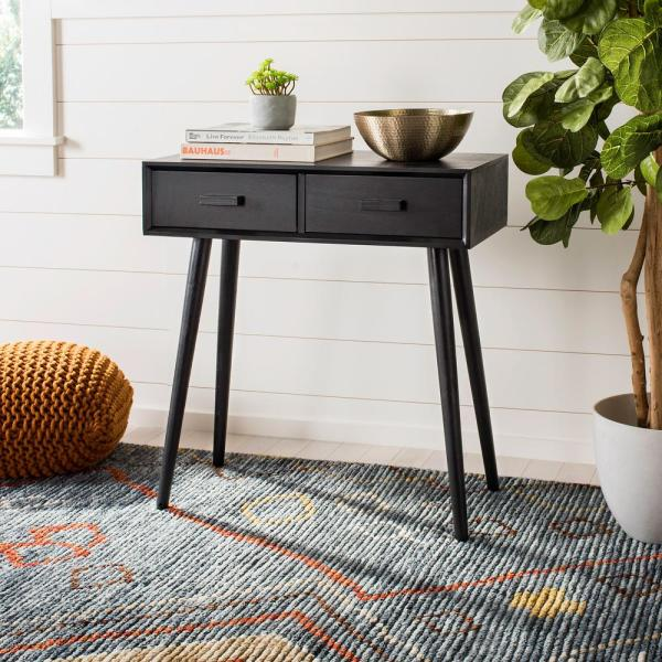 Dean 2-Drawer Black Console Table