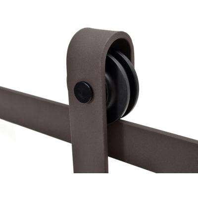 60 in. Antique Bronze Classic Bent Strap Barn Style Sliding Door Track and Hardware Set