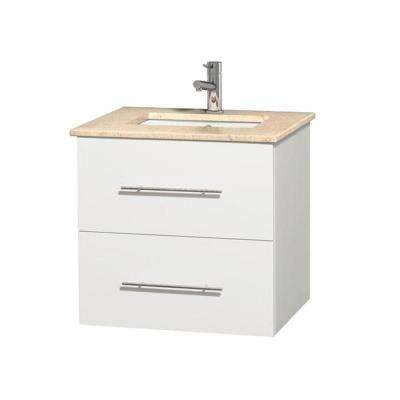 Centra 24 in. Vanity in White with Marble Vanity Top in Ivory and Under-Mount Square Sink