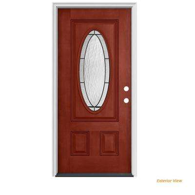 32 in. x 80 in. 3/4 Oval Lite Wendover Black Cherry Stained Fiberglass Prehung Left-Hand Inswing Front Door