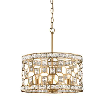 Paris 3-Light Champagne Gold with Clear Crystal Pendant