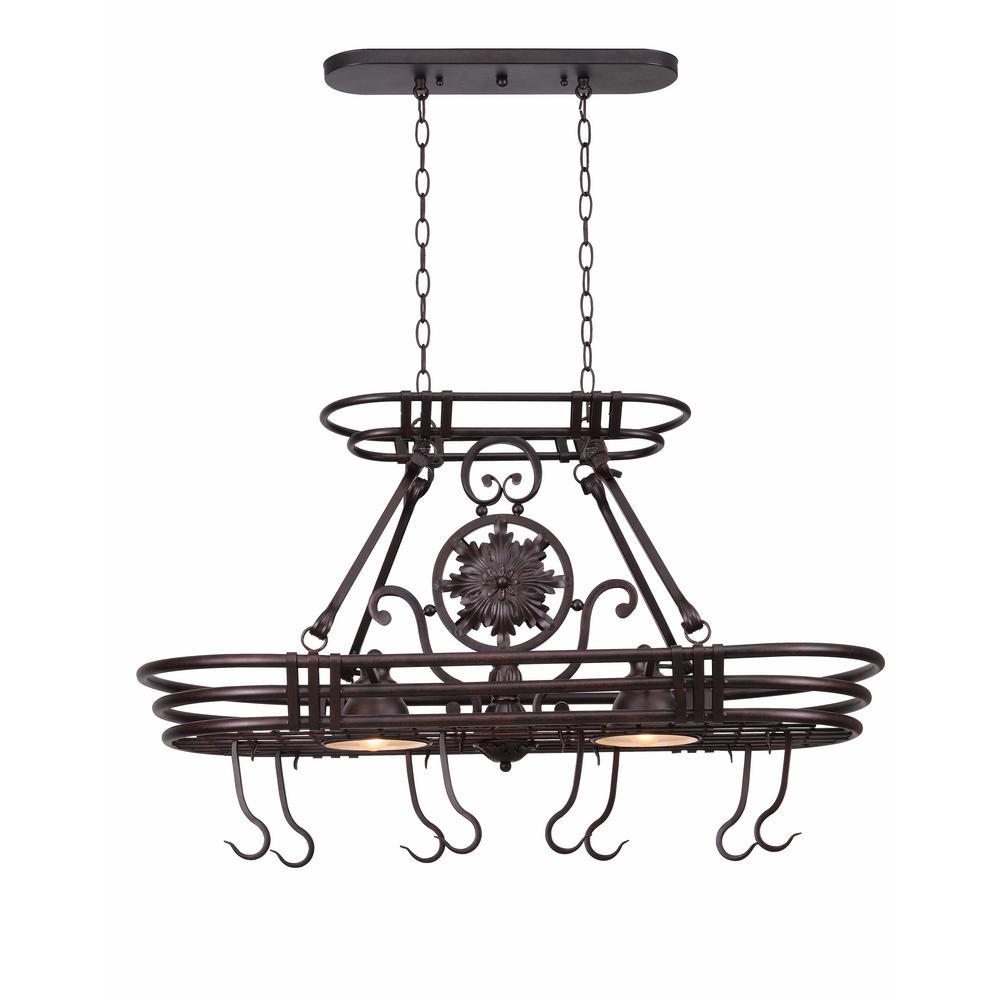 Kenroy Home Dorada 2-Light Gilded Copper 8 Hook Pot Rack by Kenroy Home