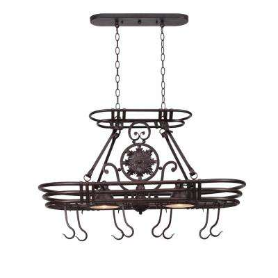 Dorada 2-Light Gilded Copper 8 Hook Pot Rack