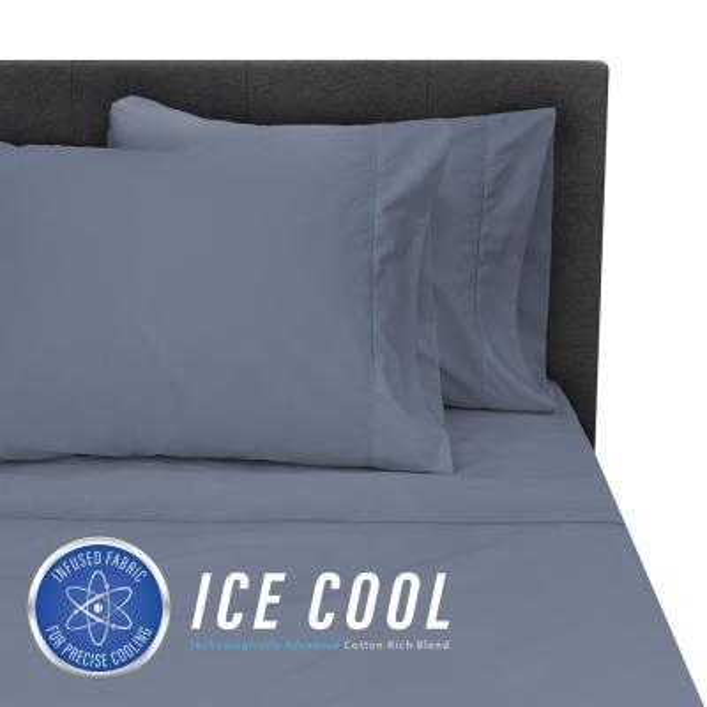 Ice Cool 4-Piece Dark Blue 400 Thread Count Cotton/Nylon Full Sheet Set