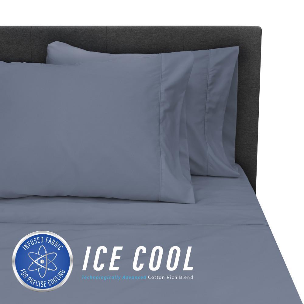 Ice Cool 4-Piece Dark Blue 400 Thread Count Cotton/Nylon King Sheet Set