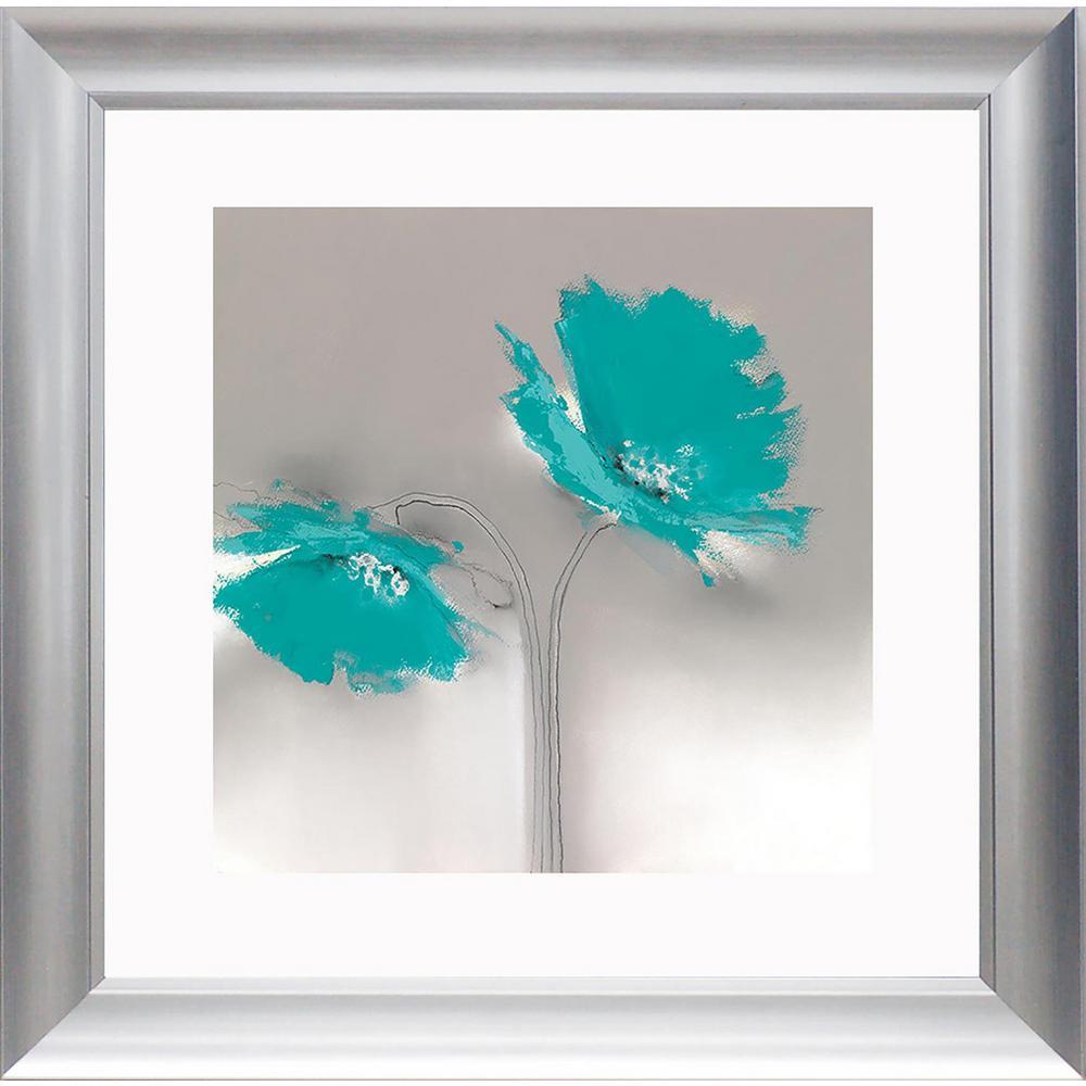 27 in. x 27 in. Aqua Platinum Petals II Printed Framed Wall Art