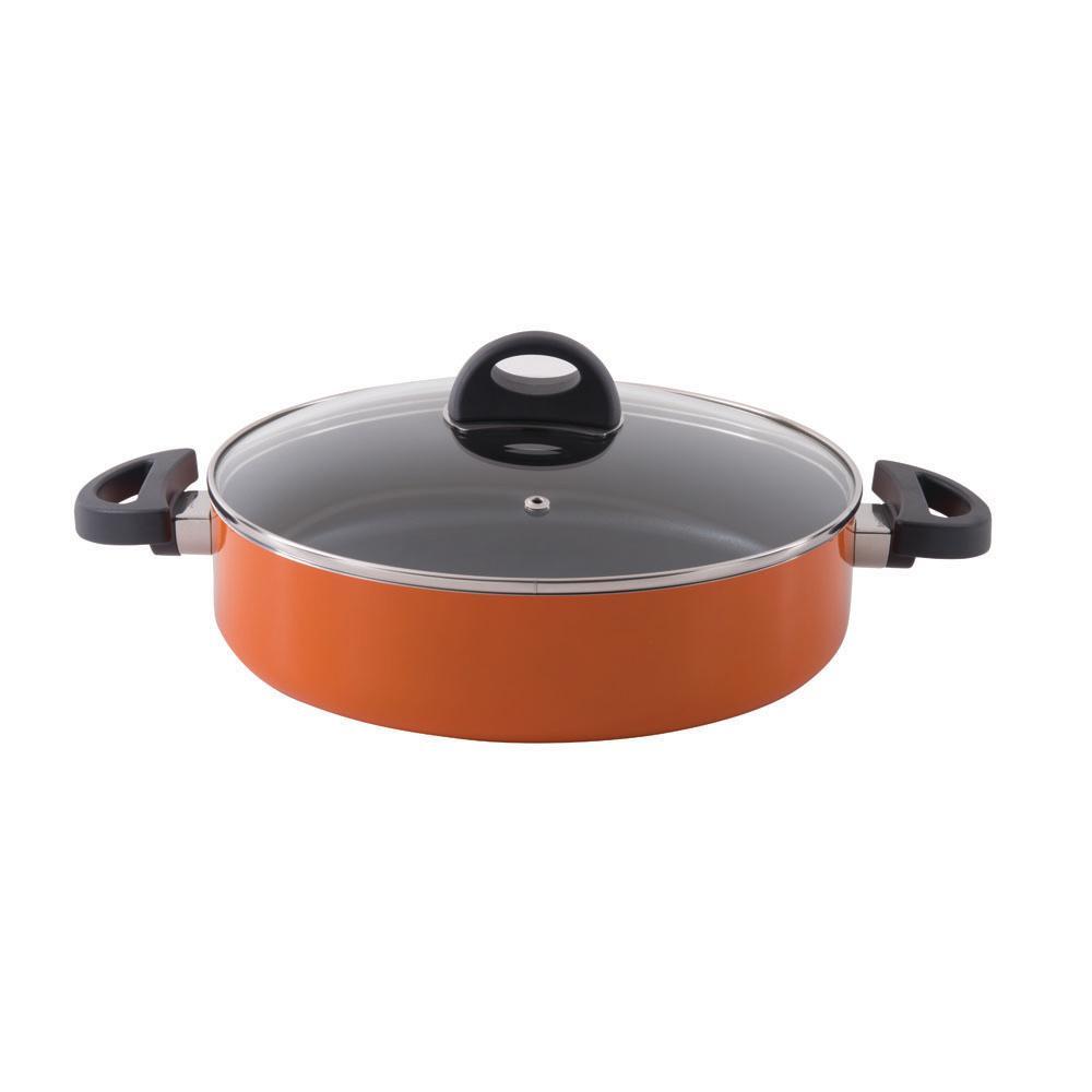 Eclipse 3.4 Qt. Aluminum Non-Stick 2-Handle Orange 10.25 in. Saute Pan with Lid