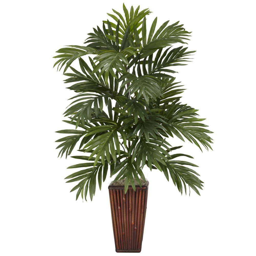Nearly natural 32 in h green areca palm with bamboo vase for Pictures of areca palm plants