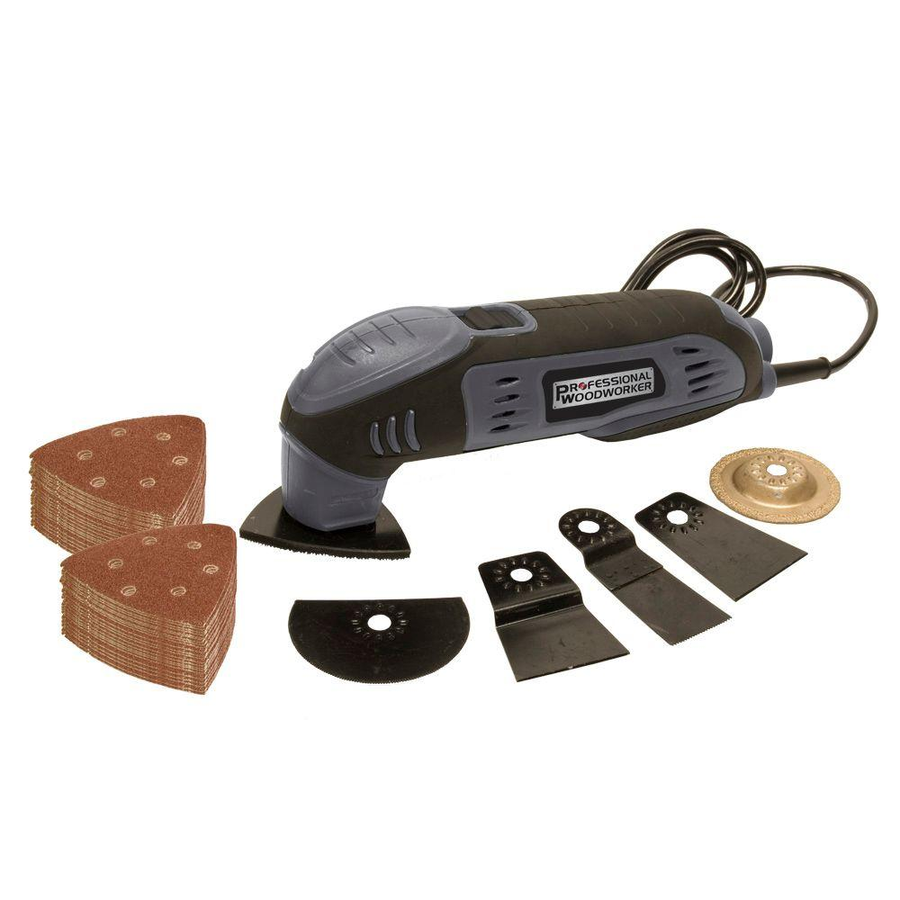 Professional Woodworker Multi-function Tool Promo Kit with 4 Accessory Tools with 50 Piece Sanding Disc Set