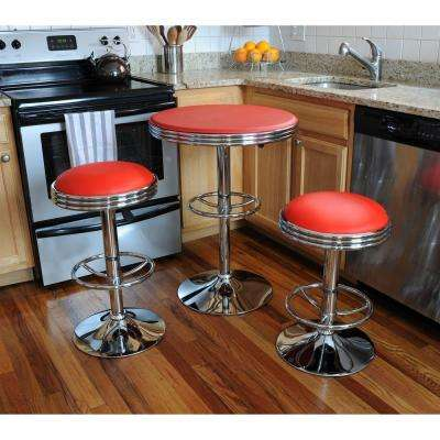 Vintage Style Soda Shop 37 in. Adjustable Height Chrome Bar Table Set in Red with Chrome Vinyl Stools (3-Piece)