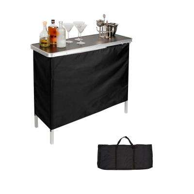 39 in. L x 15 in. W x 35 in. H Portable Bar Table -2 Skirts and Carrying Case Included