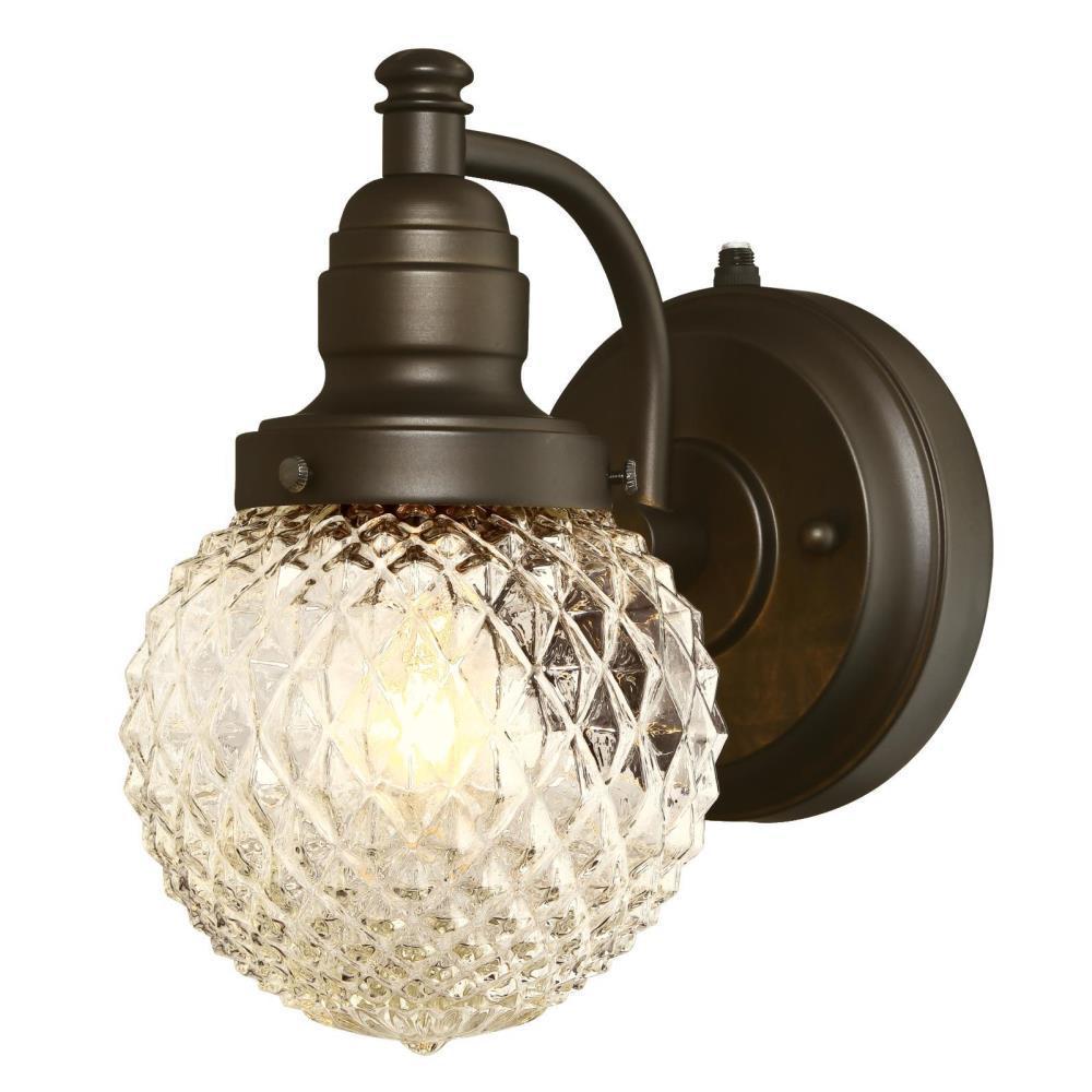 Eddystone Oil Rubbed Bronze 1-Light Outdoor Wall Mount Lantern with Dusk to Dawn Sensor