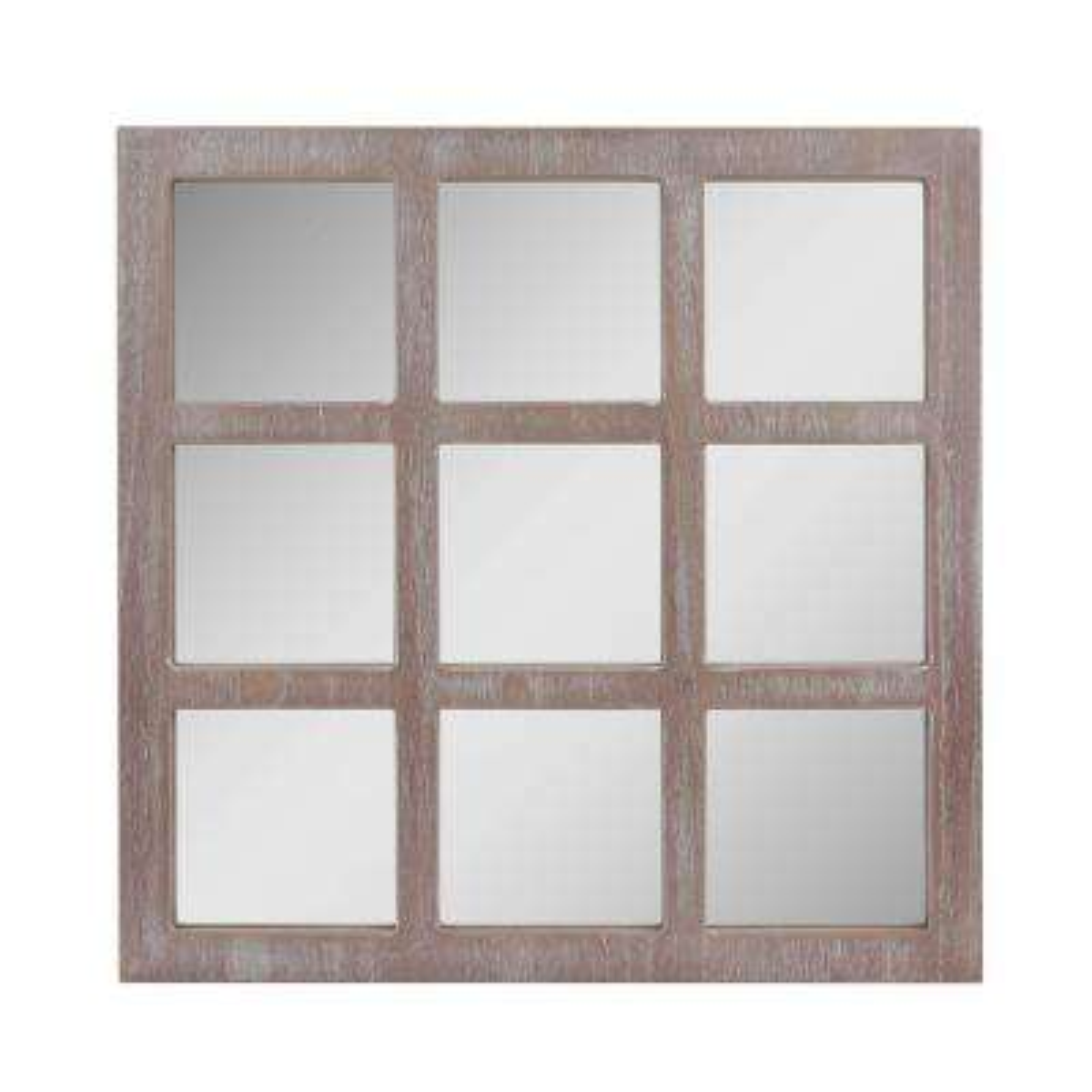 Worn White 9-Panel Window Pane Decorative Wall Mirror