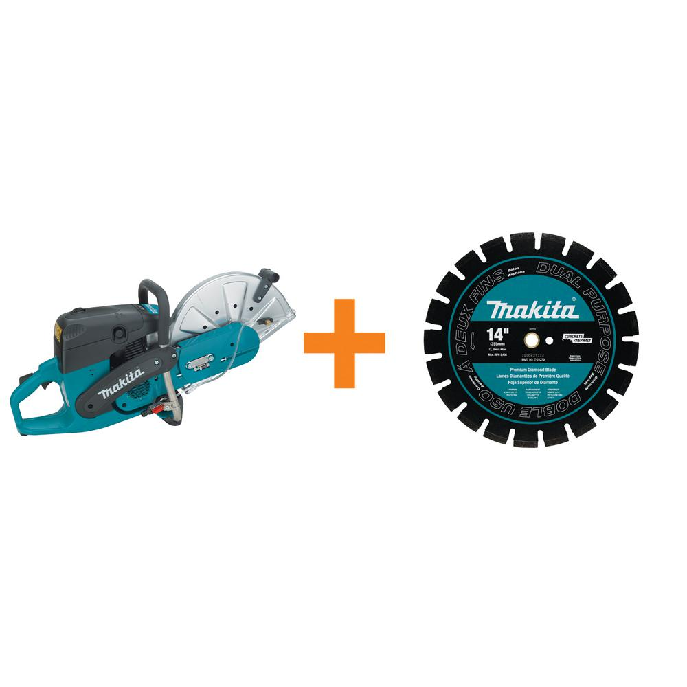 Makita 14 in. 73 cc Gas Saw with Bonus 14 in. Blade Diameter Segmented, Dual Purpose