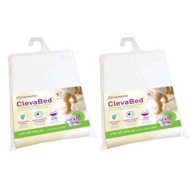 ClevaBed Brushed Cotton Waterproof Fitted Mattress Protector - Crib (2-Pack)