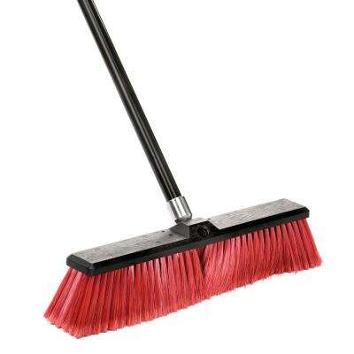 18 in. Red Indoor Outdoor Smooth Surface Push Broom (3-Pack)