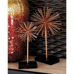 Round Iron Metal Copper Starburst Sculptures with Stand (Set of 3)