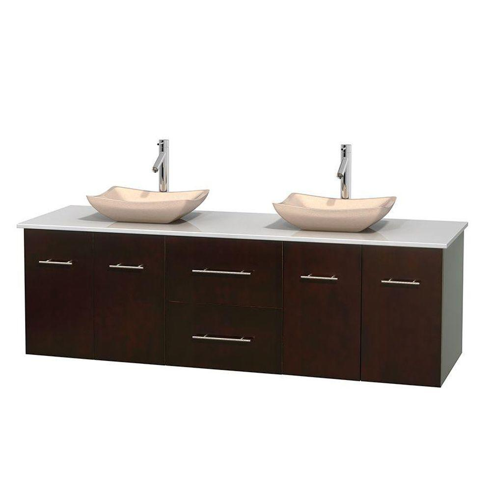 Wyndham Collection Centra 72 In Double Vanity In Espresso With Solid Surface Vanity Top In