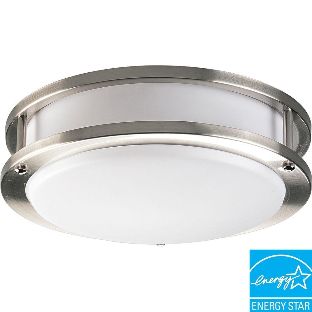 10.38 in. 1-Light Brushed Nickel Flushmount