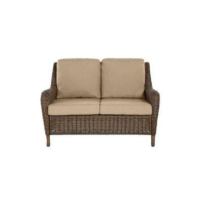 Cambridge Brown Wicker Outdoor Patio Loveseat with CushionGuard Toffee Tan Cushions