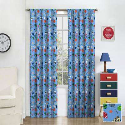 Kids Field Day Blackout Window Curtain Panel in Multi - 42 in. W x 84 in. L