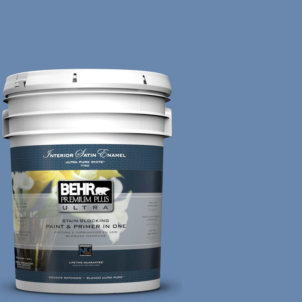5-gal. #M530-5 Cowgirl Blue Satin Enamel Interior Paint