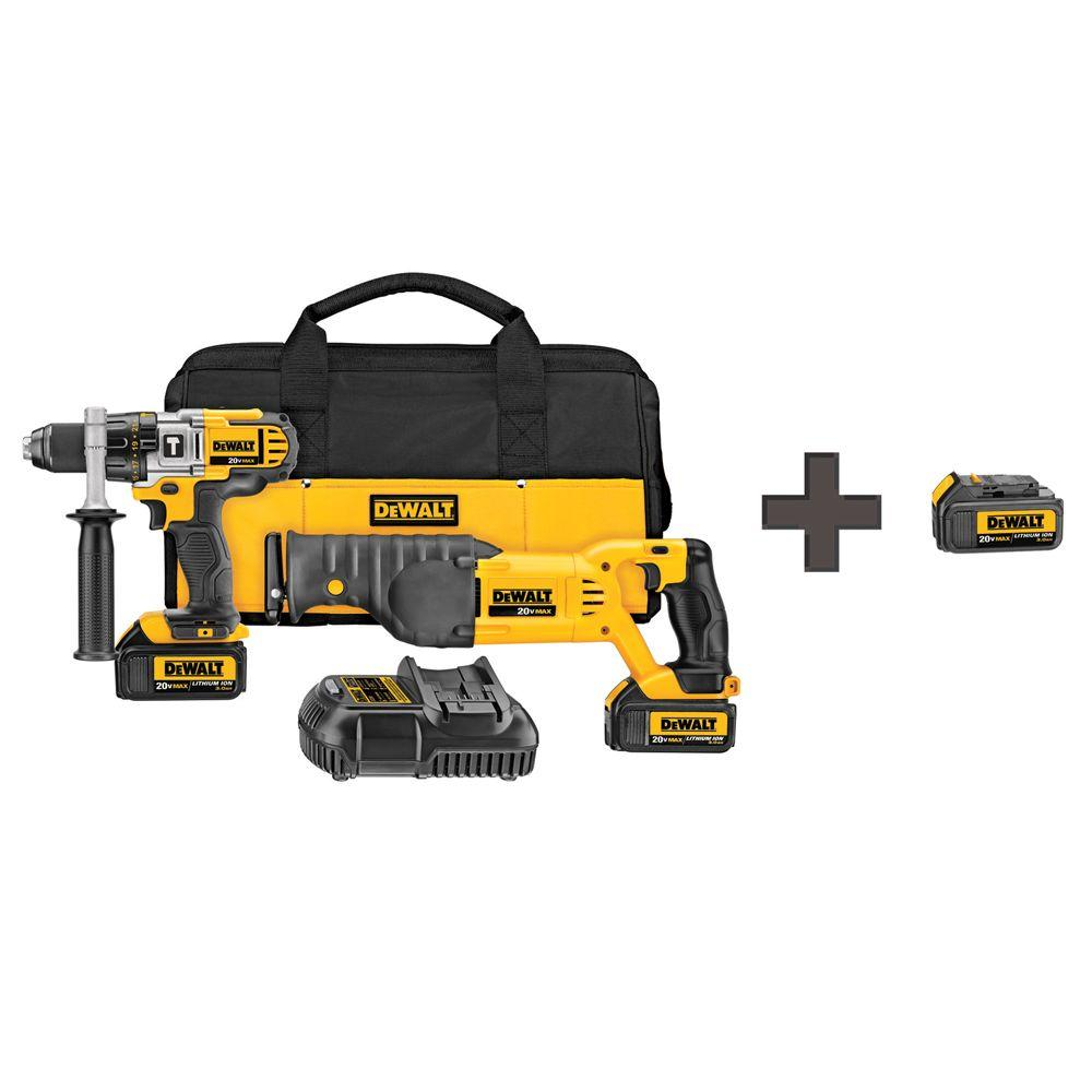 DEWALT 20-Volt MAX Lithium-Ion Cordless Combo Kit (2-Tool) w/ (2) Batteries 3Ah, Charger, Contractor Bag and Bonus Battery 3Ah