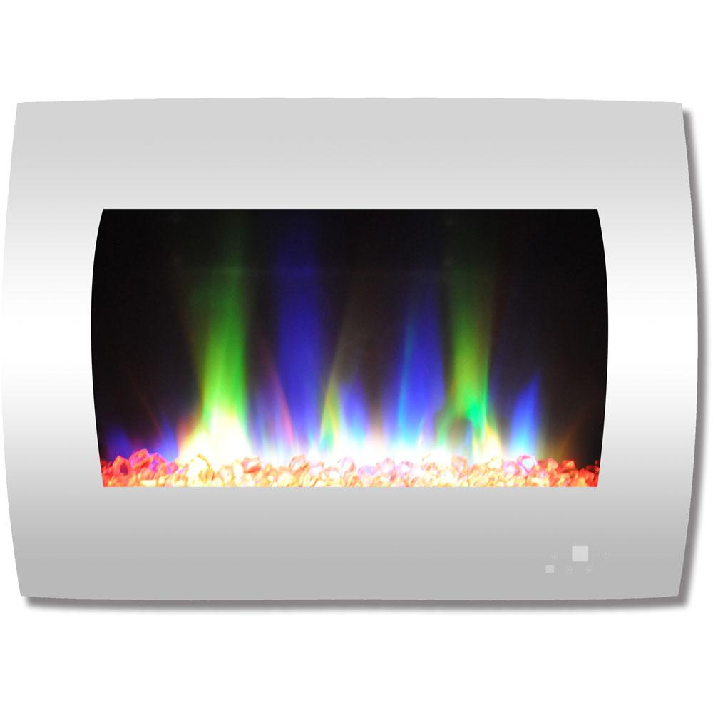 Get toasty without the risk of real flames with this innovative color changing wall mount fireplace from Cambridge. Along with its 2 heat settings and crystal rock display