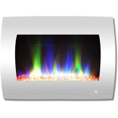 26 in. Curved Wall-Mount Electric Fireplace in White with Multi-Color Flames and Crystal Rock Display