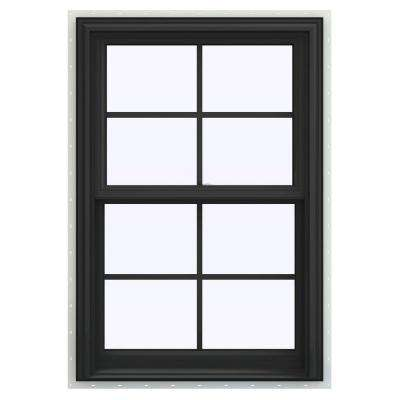 27.5 in. x 47.5 in. V-2500 Series Bronze Painted Vinyl Double Hung Window with Colonial Grids/Grilles