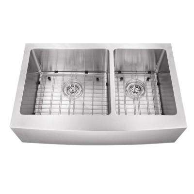 Farmhouse Extra Large Apron Front Stainless Steel 35-7/8 in. 60/40 Double Bowl Kitchen Sink