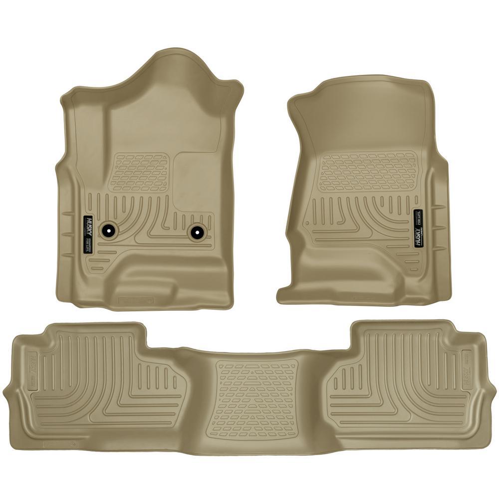 Front & 2nd Seat Floor Liners Fits 14-18 Silverado/Sierra Double