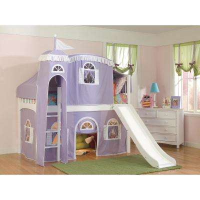 Windsor White Twin Low Loft with Lilac and White Tower, Top Tent, Bottom Curtain and Slide