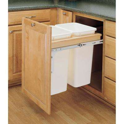 21.75 in. H x 18 in. W x 24.5 in. D Double 50 Qt. Pull-Out Top Mount Wood and White Container for 1-1/2 in. Face Frame