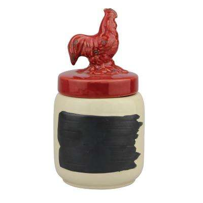 Red Ceramic Rooster Top Canister with Chalkboard Label